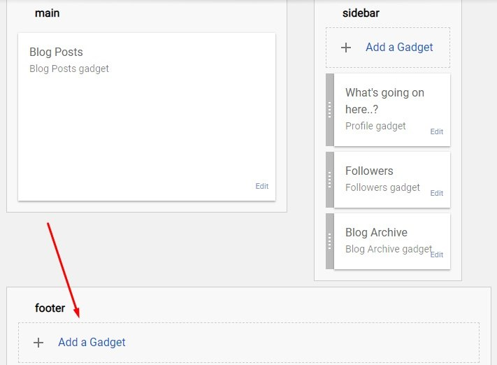 Blogger dashboard with Add a Gadget section highlighted