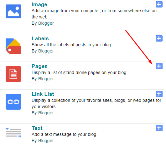 Blogger dashboard Gadget list with Pages option highlighted