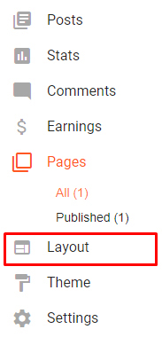 Blogger Dashboard menu with Layout option highlighted