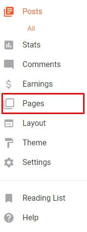 Blogger Dashboard menu with Pages option highlighted