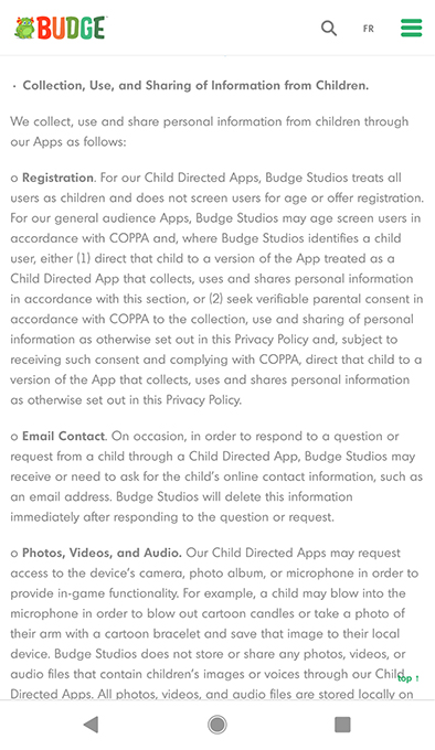 Budge Studios Privacy Policy: Collect, Use and Sharing of Information from Children clause