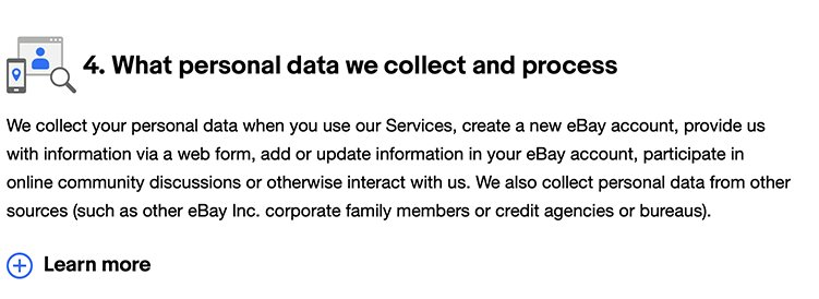 eBay Privacy Policy: What personal data we collect and process clause
