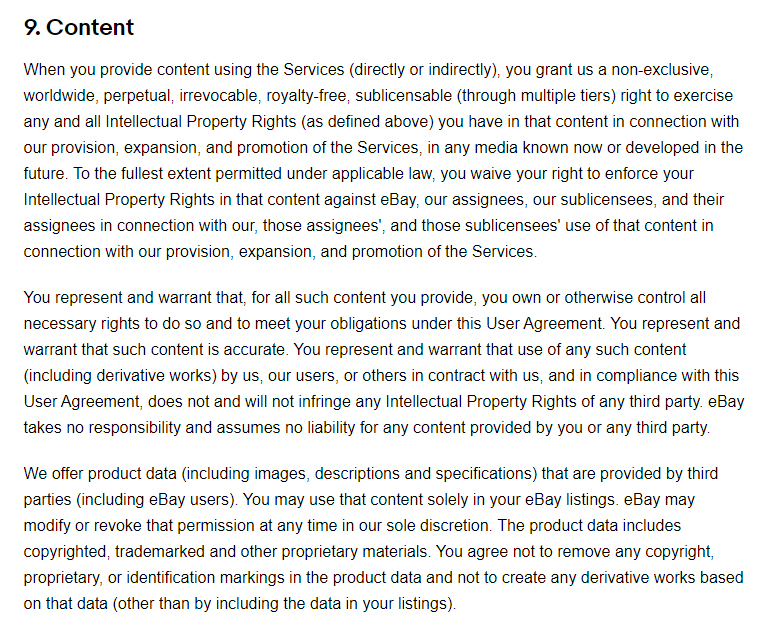 eBay User Agreement: Content clause excerpt