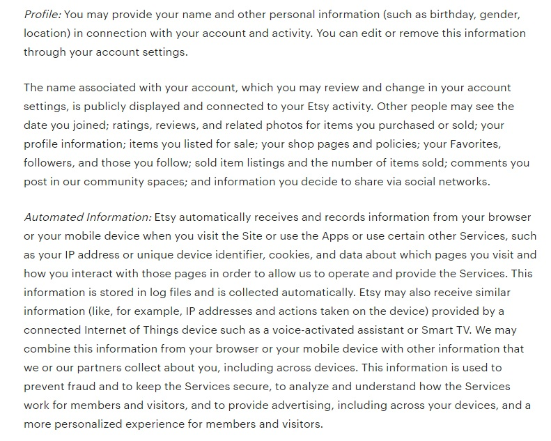 Etsy Privacy Policy: Information Collected or Received clause excerpt