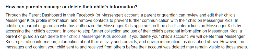 Facebook Messenger Kids Privacy Policy: How can parents manage or delete their childs information clause
