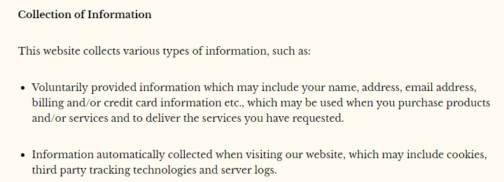 Golubka Kitchen Privacy Policy: Collection of Information clause excerpt