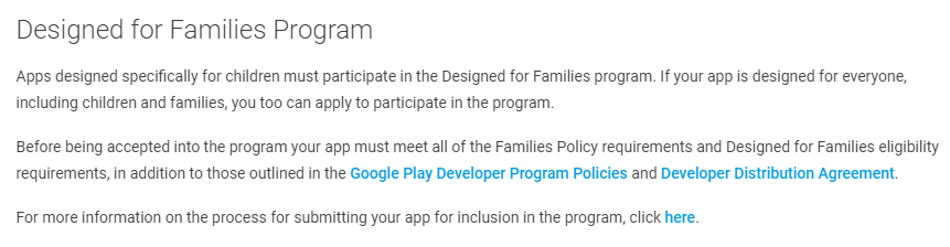 Google Play Developer Policy Center: Excerpt of Designed for Families Program clause