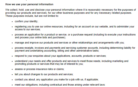 GraysOnline Privacy Policy: How we use your personal information clause excerpt
