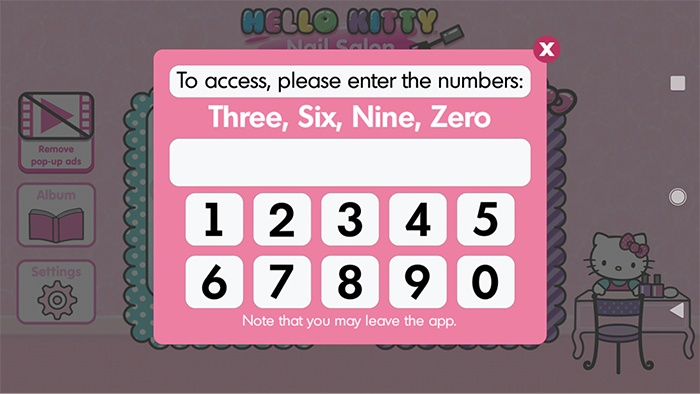 Hello Kitty Nail Salon app: Enter numbers log-in prompt