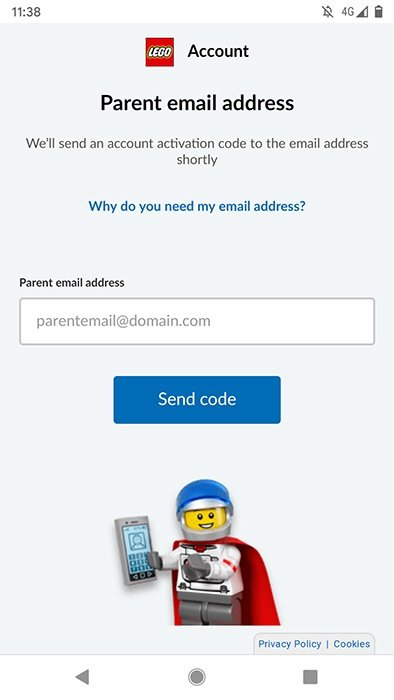 Lego Land app: Parental email address and confirmation code for consent screen
