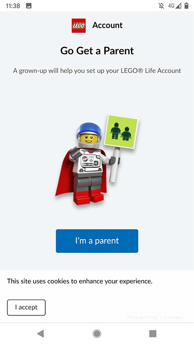 Lego Land app: Parental consent prompt screen to create an account