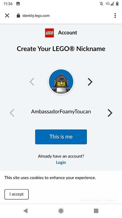 Lego Life app: Create a nickname and account screen