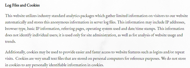 Local Milk Privacy Policy: Log Files and Cookies clause