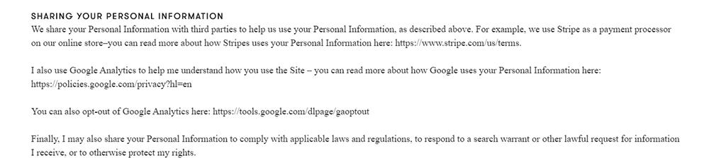 Madeleine Shaw Privacy Policy: Sharing Your Personal Information clause - Google Analytics