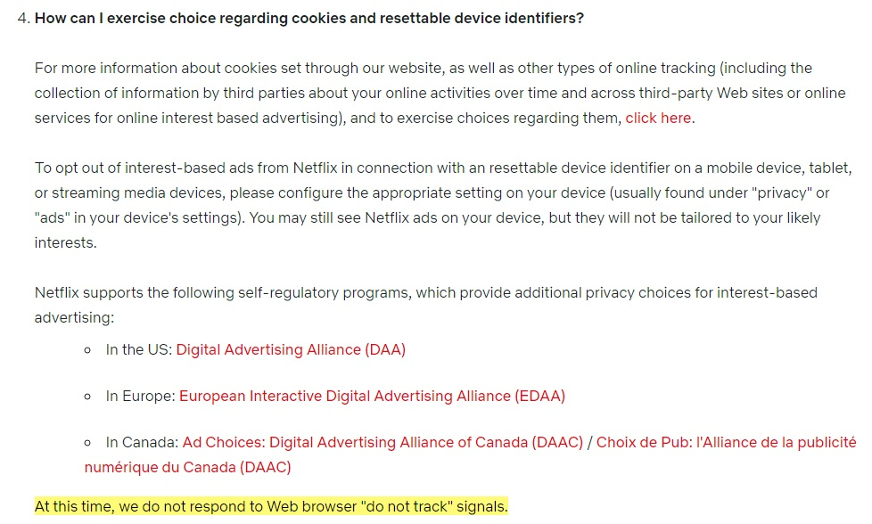 Netflix Privacy Statement: Choices regarding cookies and device identifiers clause with DNT info highlighted