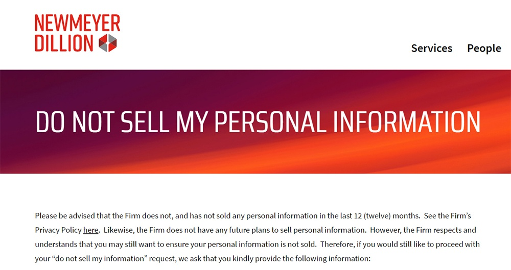 Newmeyer and Dillion Do Not Sell My Personal Information page: Intro section