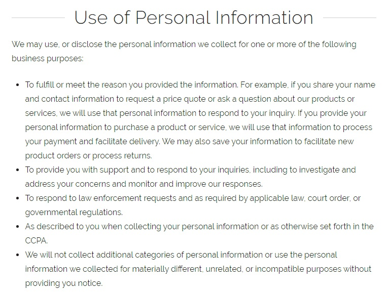 PetSuites of America: Privacy Notice for California Residents - Use of Personal Information clause