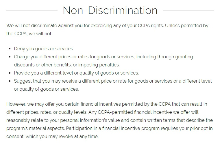 PetSuites of America Terms of Use and Privacy Policy: Non-Discrimination clause excerpt