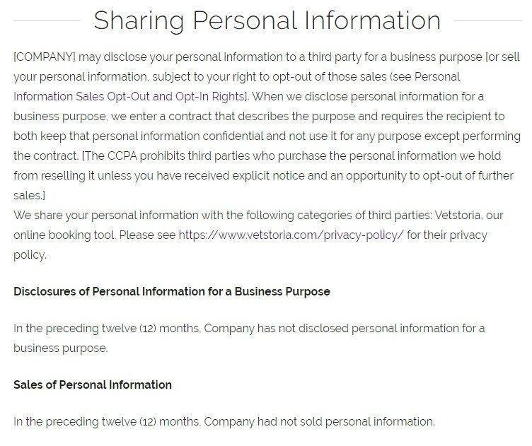 PetSuites of America Terms of Use and Privacy Policy: Sharing Personal Information clause