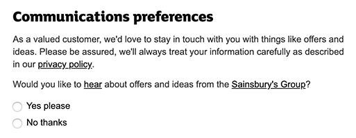 Sainsburys Communications Preferences consent form
