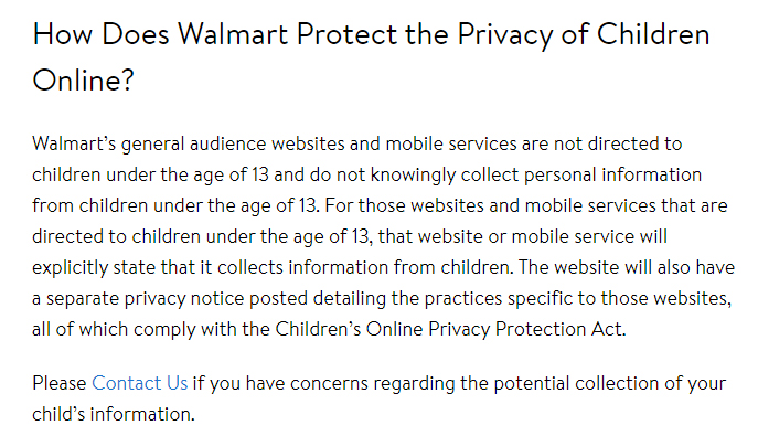 Walmart Privacy Policy: How Does Walmart Protect the Privacy of Children Online clause - COPPA