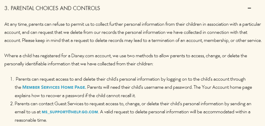 Walt Disney Childrens Privacy Policy: Parental Choices and Controls clause