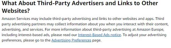 Amazon UK Privacy Notice: Third-party advertisers and links to other websites clause