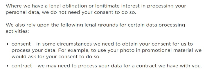 Anglian Water Privacy Notice: Excerpt of clause about legal grounds for processing