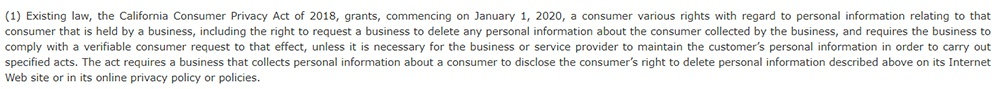 CCPA Section 1 Stating that various consumer rights are granted