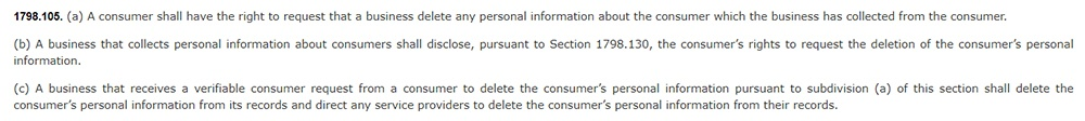 CCPA Section 1798 105: Excerpt about consumer right to request information be deleted