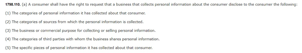 CCPA Section 1798 110: Excerpt about consumer right to request information be disclosed