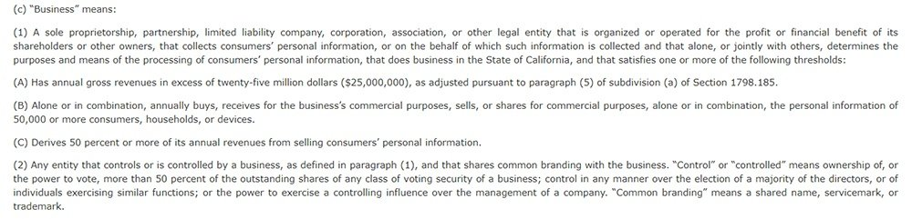 CCPA Section 1798 140: Definition of Business