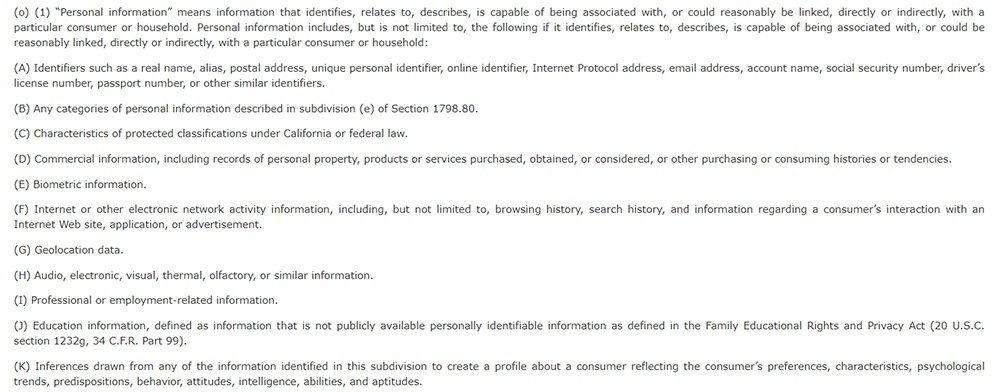 CCPA Section 1798 140: Definition of Personal Information