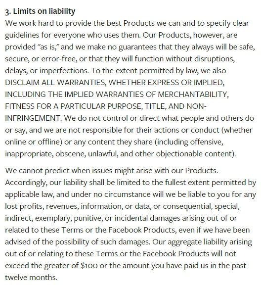 Facebook Terms of Service: Limits on Liability clause