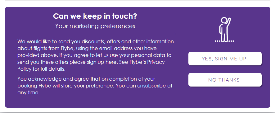 Flybe email sign-up consent form