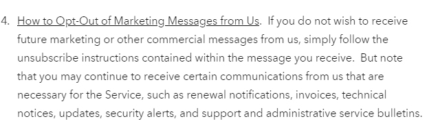 Generic Privacy Policy Opt-Out of Marketing Communications clause