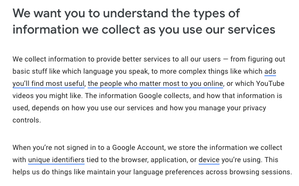Google Privacy Policy: Understand the types of information we collect clause
