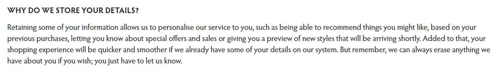 Hell Bunny Privacy Policy: Why do we store your details clause
