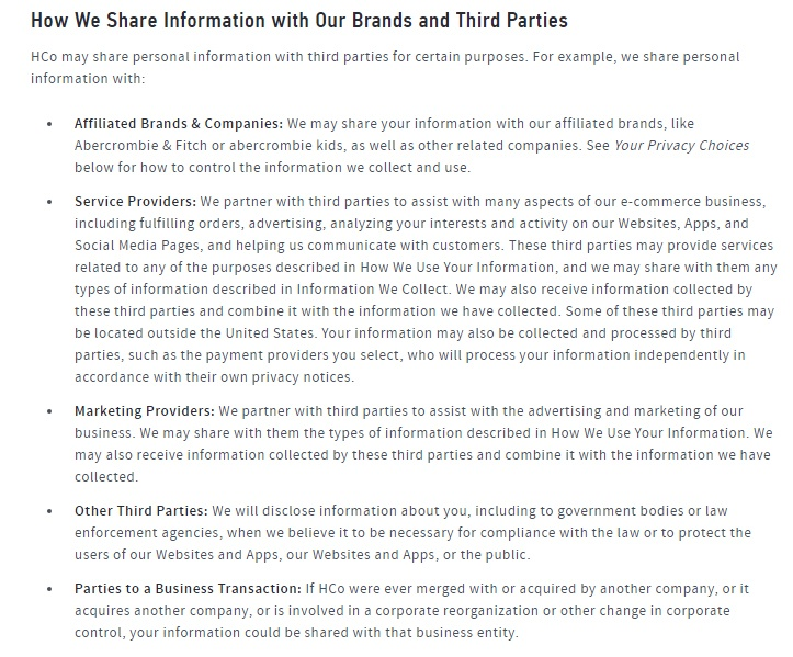 Hollister Privacy Policy: How We Share Information with Our Brands and Third Parties clause