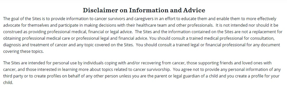 LIVESTRONG Disclaimer on Information and Advice