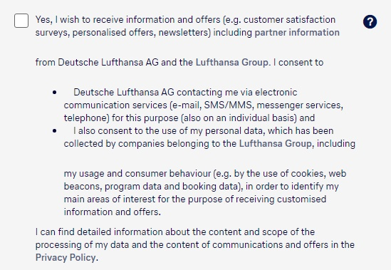Lufthansa Create Profile form: Section with checkbox for consent