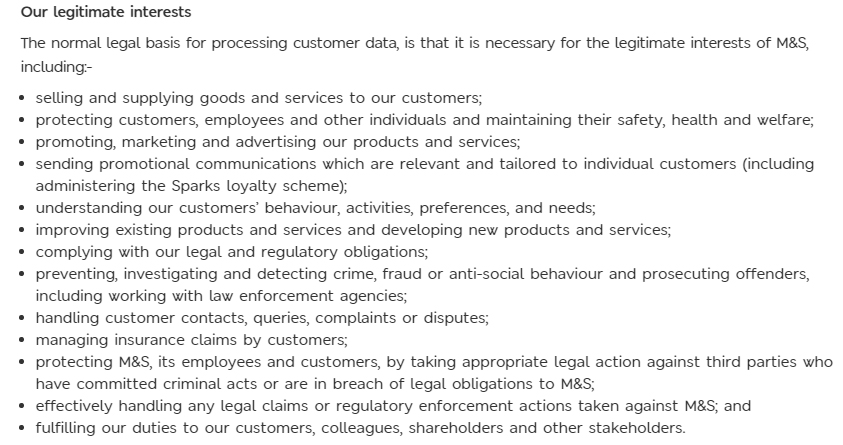 Marks and Spencer Privacy Policy: Legitimate interests clause