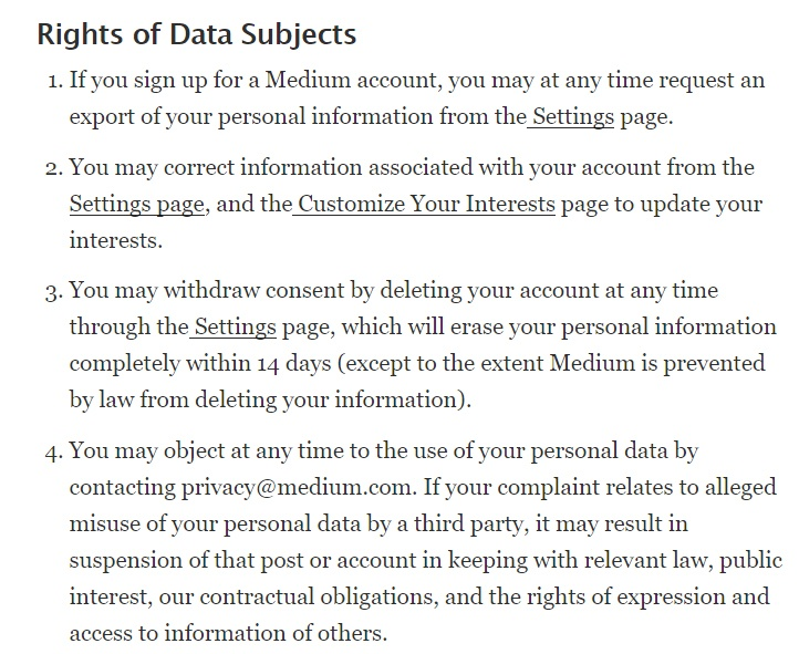 Medium Privacy Policy: Rights of Data Subjects clause excerpt