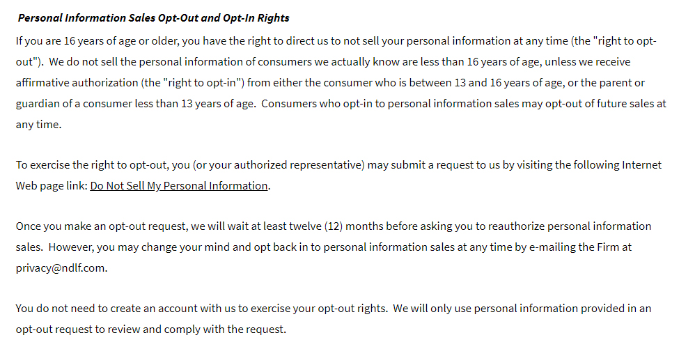 Newmeyer and Dillion Privacy Policy - Your California Privacy Rights section: Personal Information Sales Opto-Out and Opt-In Rights clause
