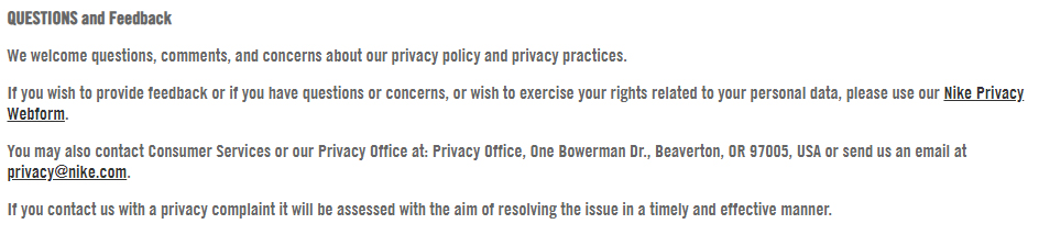 Nike Privacy Policy: Questions and Feedback clause