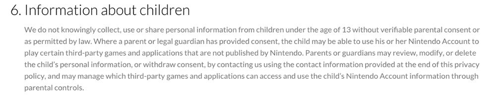 Nintendo Privacy Policy: Information about Children clause