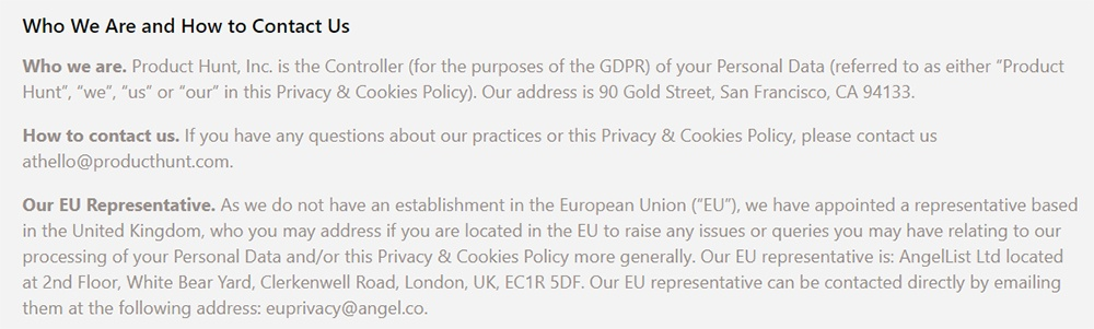 Product Hunt Privacy and Cookies Policy: Contact clause