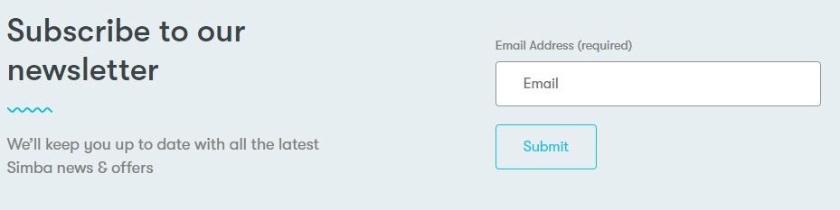 Simba Sleep email subscribe form