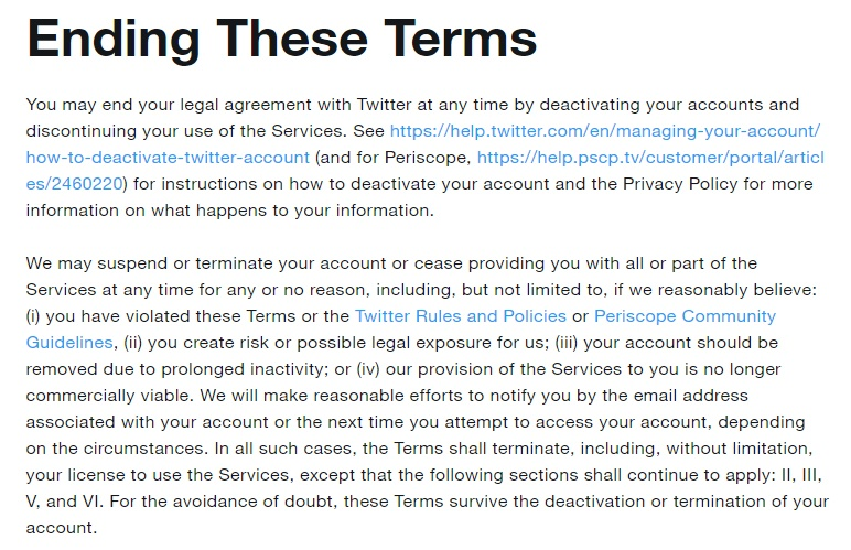 Twitter Terms of Service: Termination clause
