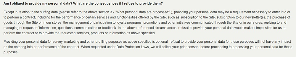 VANS Privacy Policy: Am I obliged to provide my personal data and what are consequences if I refuse to clause for anti-discrimination